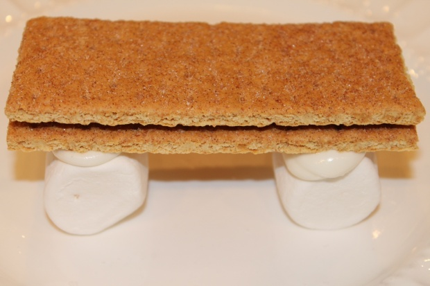 The Marshmellows glued to the Graham Crackers